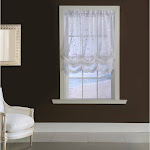 Habitat Grandeur Deep Scalloped Embroidery Balloon Curtain White - 52 x 63 White Solid