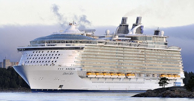 The Oasis of the Seas, the world's largest cruise ship which cost over £810million to construct, is shown during sea trials
