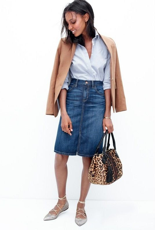 Le Fashion Blog Chic Easy Work Style Fall Looks Camel Blazer Striped Shirt Denim Skirt Leopard Bag Lace Up Flats Via JCrew