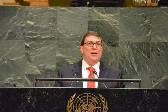 El canciller cubano, Bruno Rodríguez, durante su discurso en la sede de Naciones Unidas este miércoles. Foto: @CubaMINREX/ Twitter.