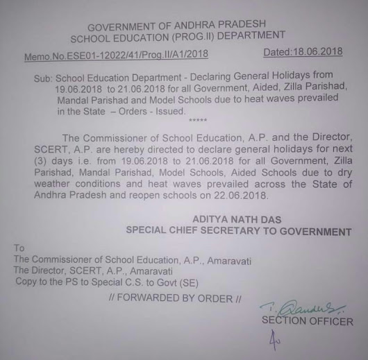 AP Schools General Holidays from 19-21st June 2018 Due to Heat Waves - Teachers Badi - TSBADI