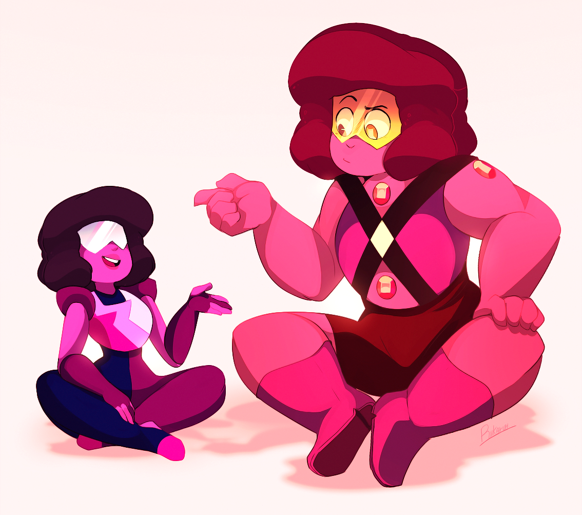Day 3 - Fusion/Squads @rubybomb Garnet and the ruby fusion talking about…. fusions?