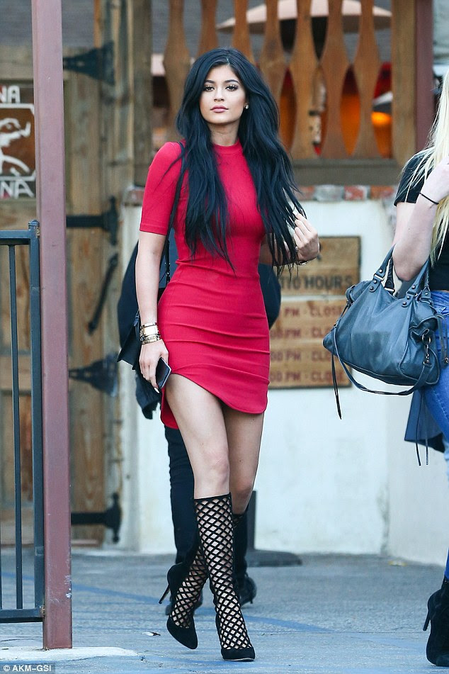 kylie jenner 17 teams tight red dress with latticestyle