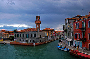 View from a bridge on Murano, overlooking the ...