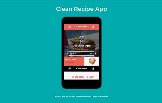 Clean Recipe A Mobile App Flat Bootstrap Responsive Web Template