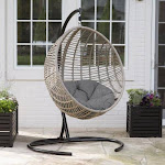 Island Bay Resin Wicker Kambree Rib Hanging Egg Chair with Cushion &