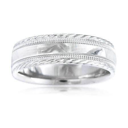 Men's Antique Style Platinum wedding Band Ring