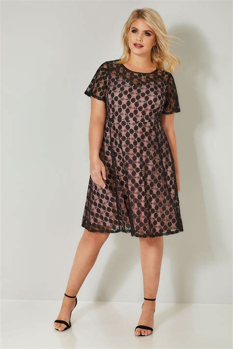 Black & Pink Lace Spot Skater Dress, plus size 16 to 36