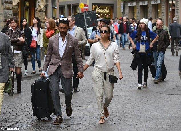 Tour of Europe: Eva and her beau Jose Antonio Baston were also spotted sightseeing in Florence earlier this week