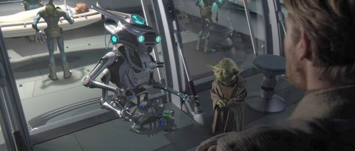 A Polis Massan medical droid addresses Obi-Wan, Yoda and Bail Organa about Padme's current state of condition...in STAR WARS: REVENGE OF THE SITH.