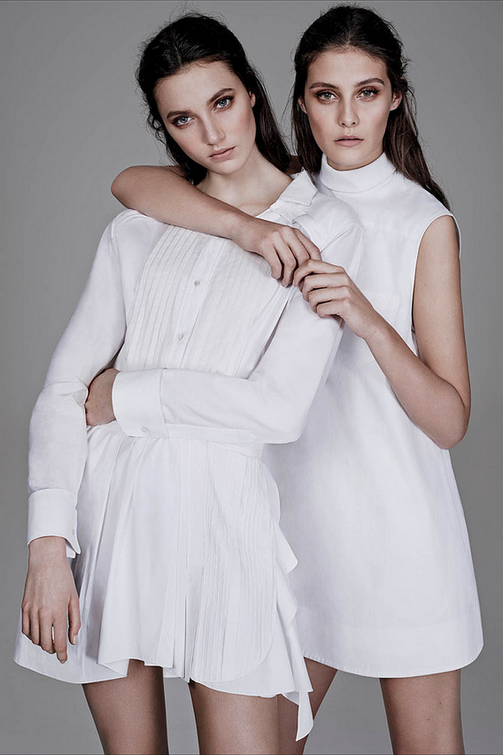 Le Fashion Blog All White Everything The Wall Street Journal Tuxedo Shirt Pleated Skirt Alexander Wang Collared Sleeveless Dress Romantic Natural Beauty Hair 2 photo Le-Fashion-Blog-All-White-Everything-The-Wall-Street-Journal-Alexander-Wang-Dress-2.png