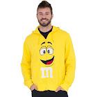 M&M's Zip Up Adult Big Face Hoodie Sweatshirt - Yellow