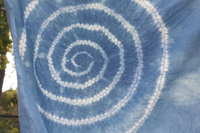 shibori spiral indigo dyed