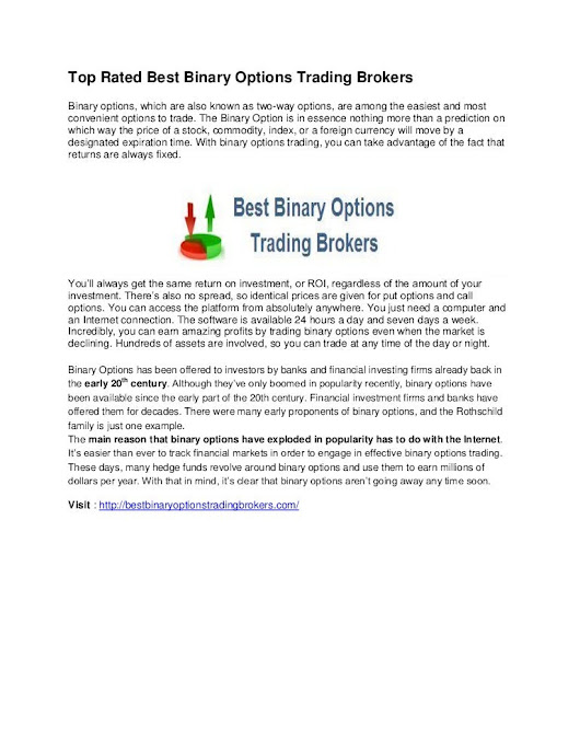 Top rated best binary options trading brokers