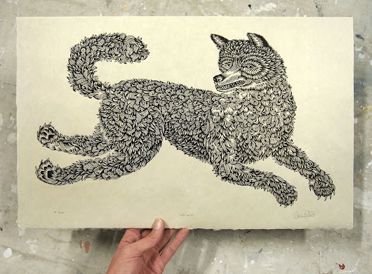 "Printing ""THE WOLF"" Woodcut in B&W"