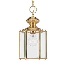 Shop Sea Gull Lighting 12-1/2-in Polished Brass Outdoor Pendant ...