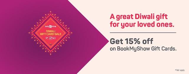 Get flat 15% discount on Bookmyshow/Amazon / Flipkart/ Big bazaar Combo gift card