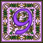Flowery Purple Number 9