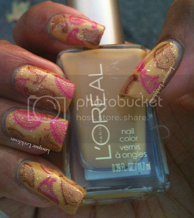 Lacquer Lockdown - Loreal The Perfect Trench, swatch, Sonoma Nail Art Bubble Room, indie polish, glitter polish, nail art, stamping, bundle monster 2012, BM-315, bundle monster, sally hansen fast fushcia, sally hansen haute chocolate, paisely print nails, fall nail ideas, mustard yellow nails, patterned nails
