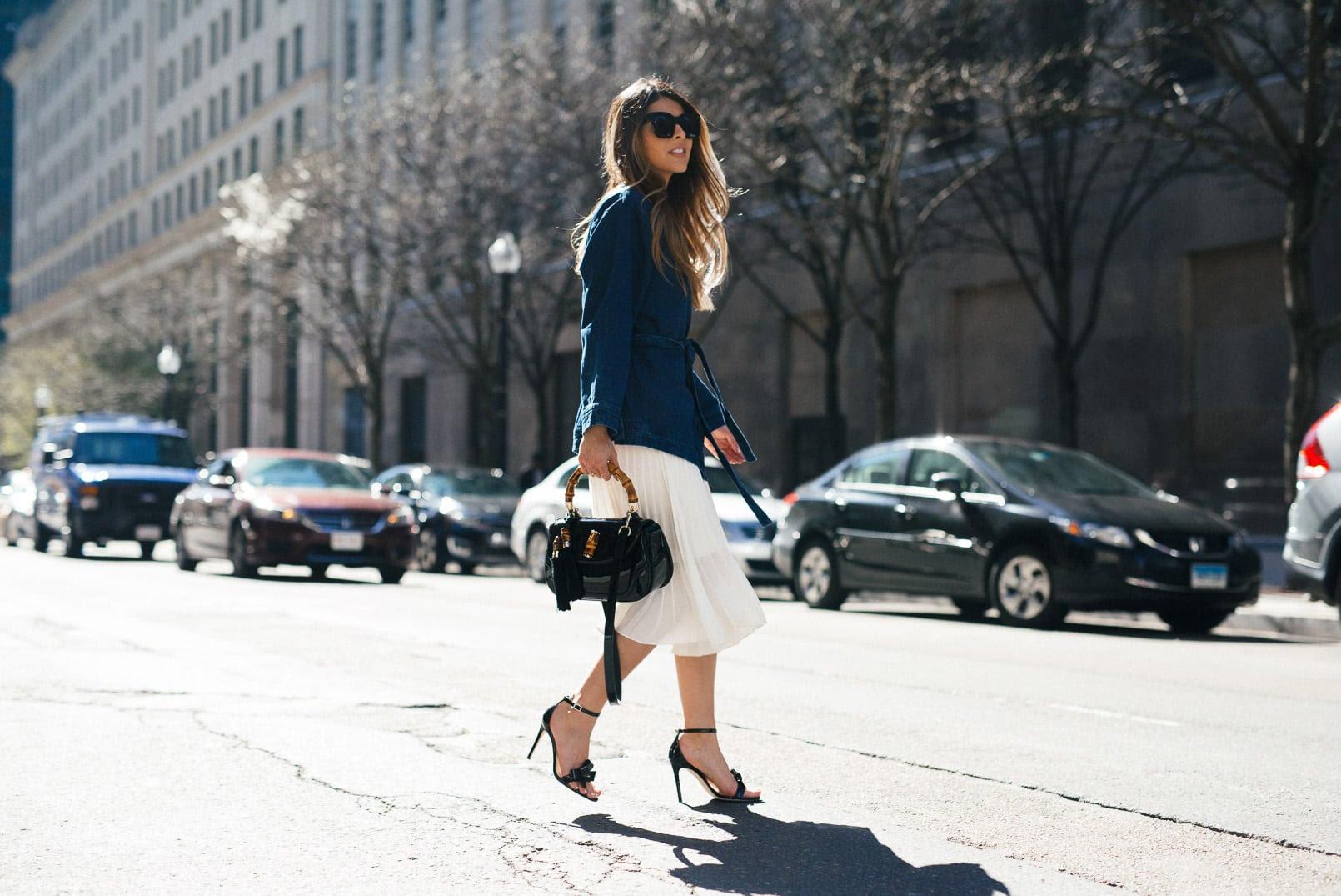 express midi pleated skirt, m.gemi ankle strap heeled sandals, new look denim wrap coat, gucci bamboo top handle bag, celine sunglasses