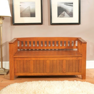 Normandy Light Avalon Brown Entryway Storage Bench   Overstock.com