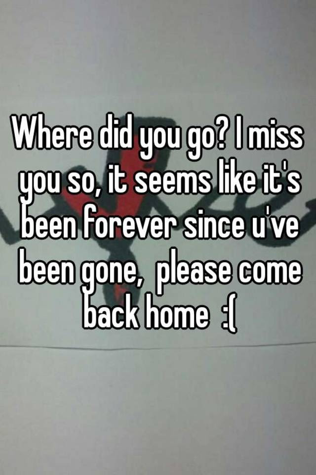 Where Did You Go I Miss You So It Seems Like Its Been Forever