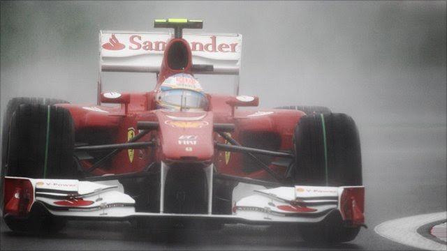 Fernando Alonso of Ferrari drives during the Korean Formula One Grand Prix