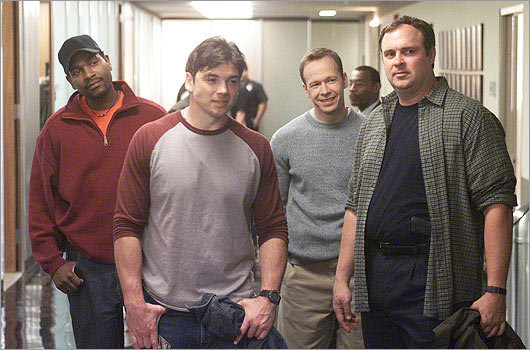 The 2002 NBC series 'Boomtown' also found Wahlberg in the role of detective. Here, he's pictured in the pilot episode with costars, from left, Mykelti Williamson, Jason Gedrick, and Gary Basaraba.