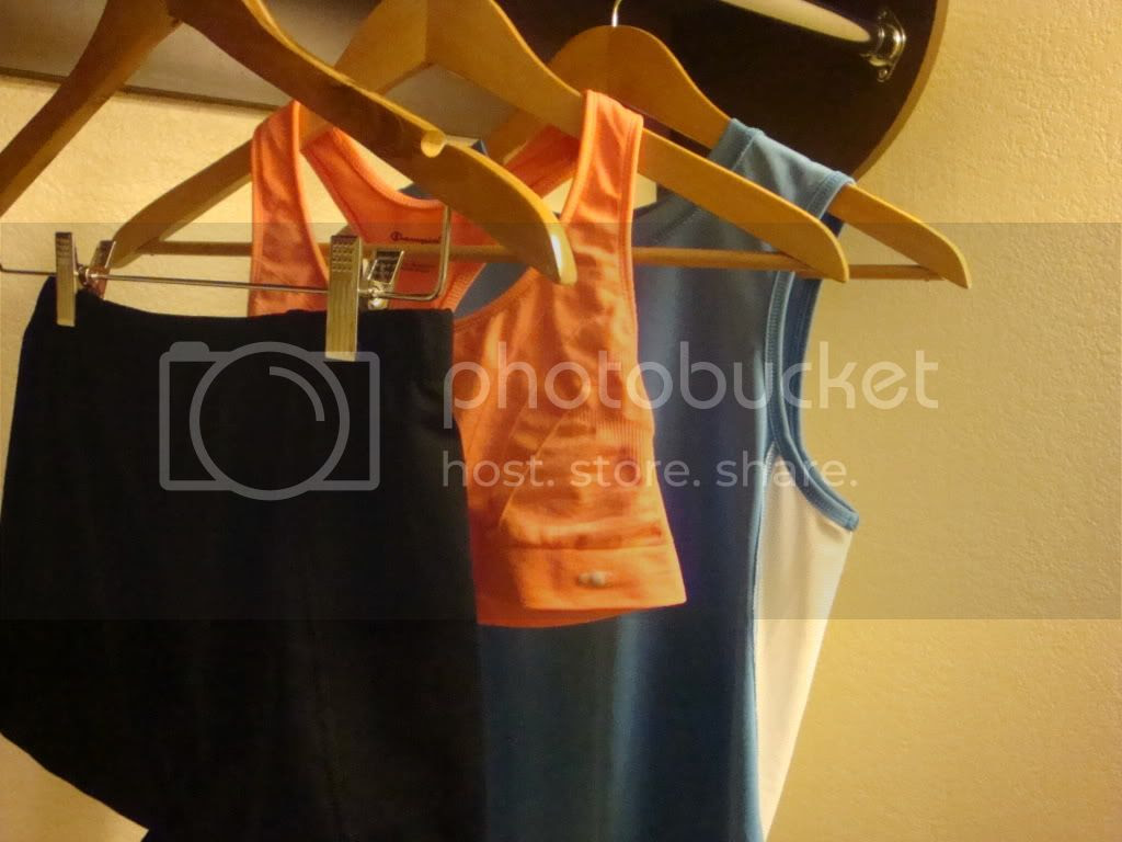 Sweaty running clothes hanging up to dry