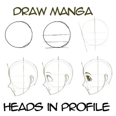 draw anime manga faces heads  profile side