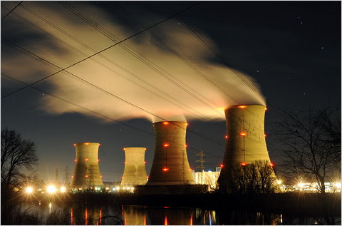 The Three Mile Island nuclear plant in Pennsylvania on Monday, 32 years to the date after an accident there. When hot fuel interacted with steam there, the plant's suffered a hydrogen explosion.