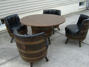 Vintage Retro Whiskey Barrel Table Chairs