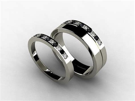 Wedding band set, titanium ring, Diamond, Titanium wedding