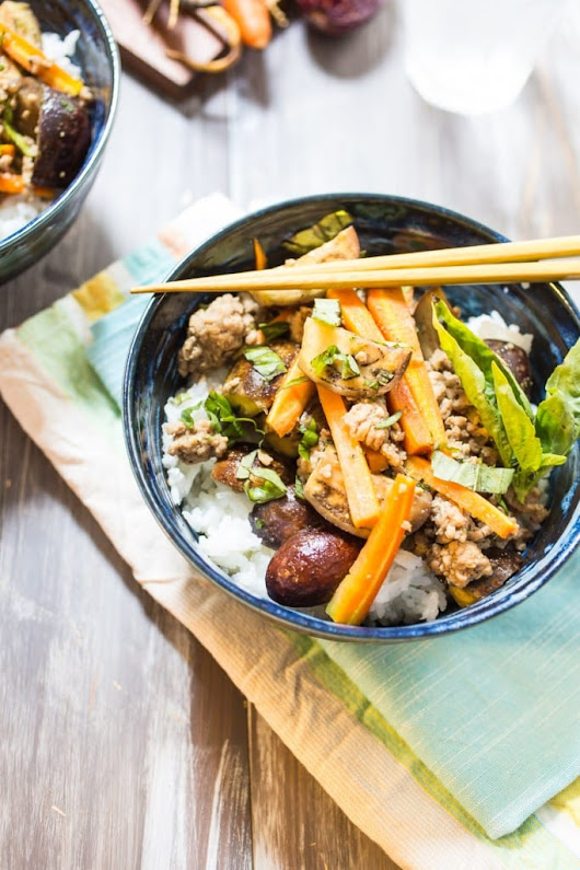 Thai Pork and Eggplant Rice Bowl