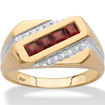 Men's .96 TCW Garnet and Diamond 18k GP Men's Ring