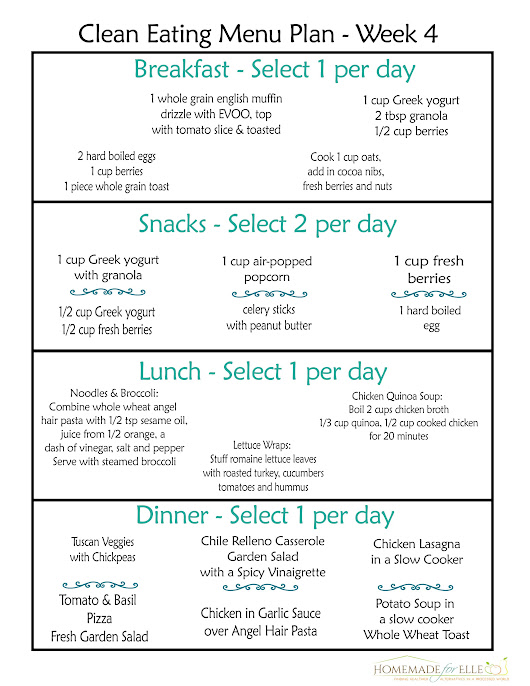 Clean Eating Meal Plan Week 4 - Homemade for Elle
