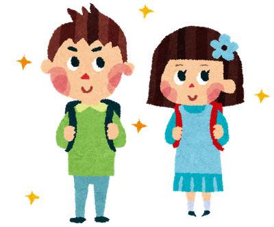 無料素材 ランドセルを背負った男の子と女の子のイラスト入学式の
