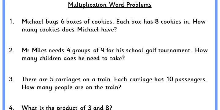 Multiplication Word Problems Classroom Secrets