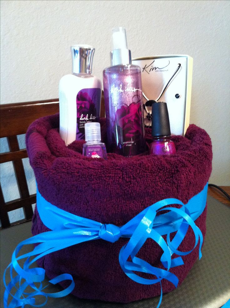 Thats actually not a bad idea. From Original Pinner.....DIY Towel Gift Basket I  really like this idea!!