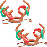 2 Pack Christmas Inflatable Reindeer Antler Hat Ring Toss Xmas Party Game for Kids