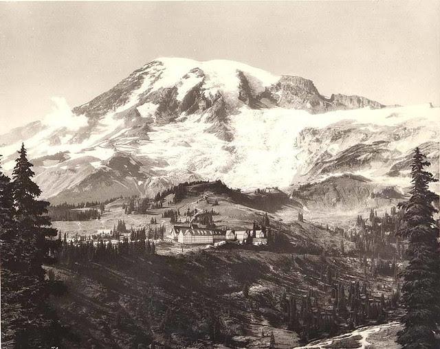Panoramic view of Paradise Inn, Mount Rainier National Park, Washington