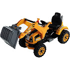 Aosom 6V Kids Ride On Toy Digger Construction Excavator Tractor, Black/Yellow