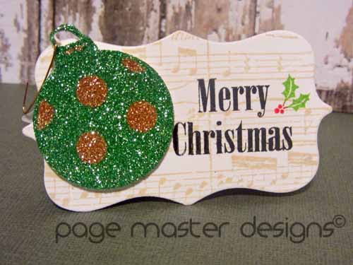 ornament card green gold