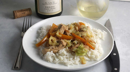 Pork and Cabbage Skillet with Riesling from Alsace #winophiles #AlsaceRocks | Cooking Chat