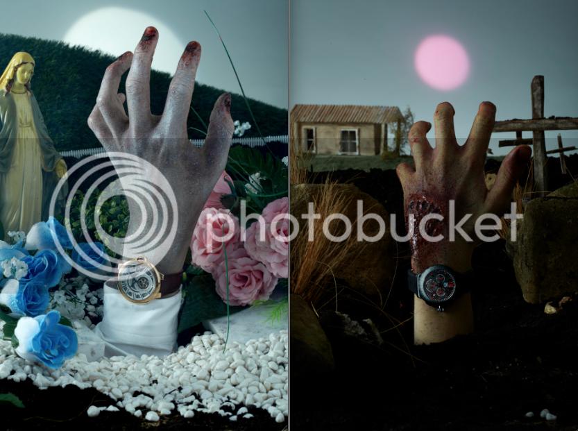 Hero magazine, zombie hands, watch editorial, SFX makeup, Halloween