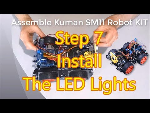 Assemble Kuman Arduino Robot Car KIT SM11 Step 7: Installing The LED Lights and Turn Signals