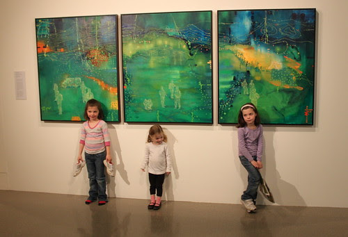 Girls in front of Night Vision inspired art