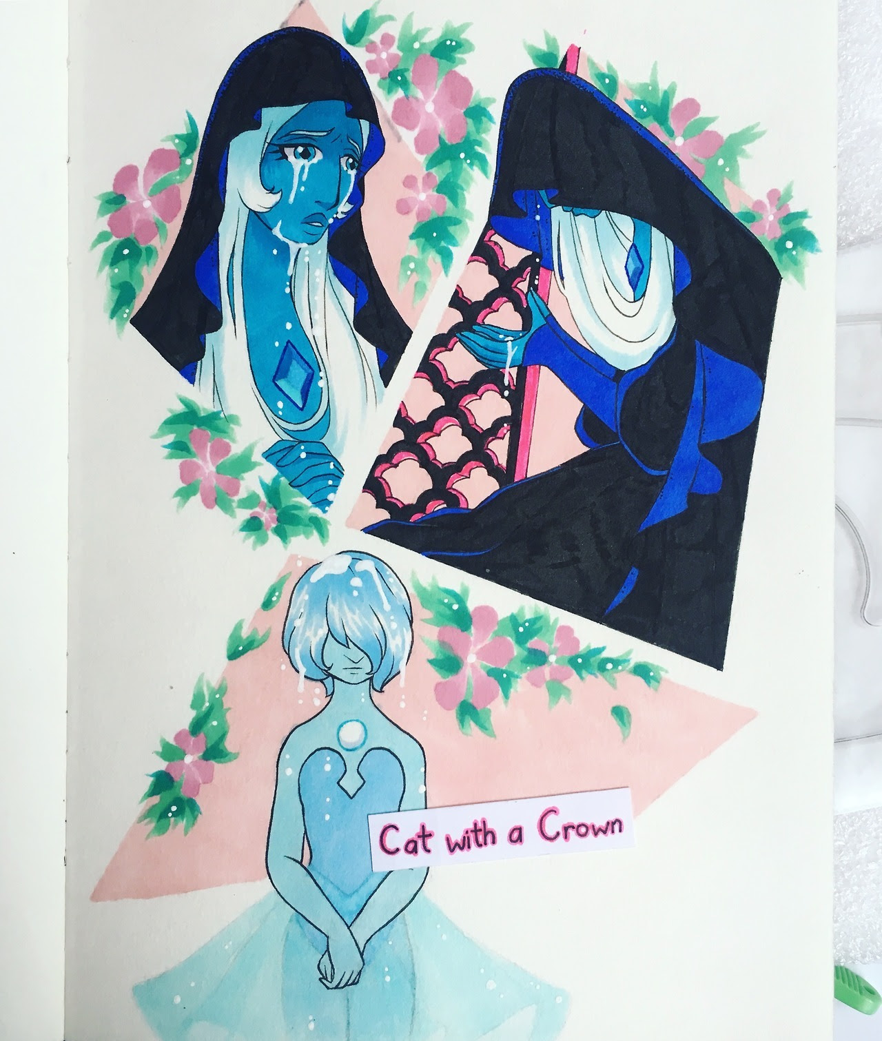 breaking in new sketchbook/new markers with Blue Diamond