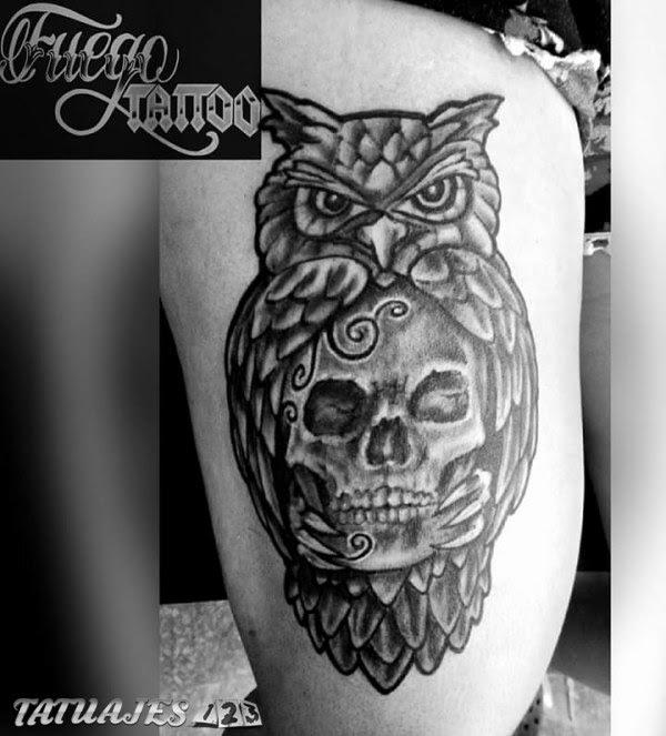 Tatuaje Buho Con Calavera Sfb