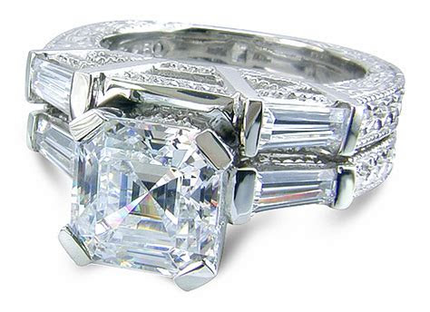 Engraved Antique 2.5 Carat Asscher Cut Cubic Zirconia